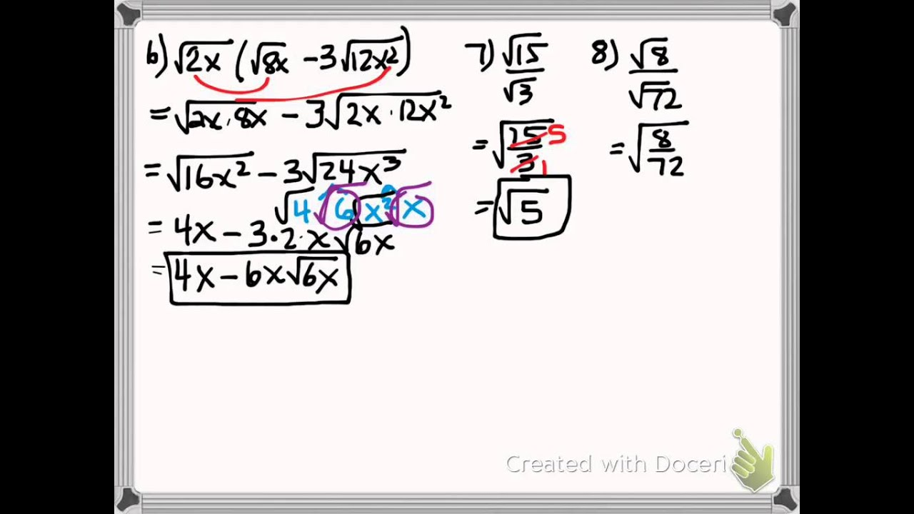 Algebra Simplifying Products and Quotients of Radicals