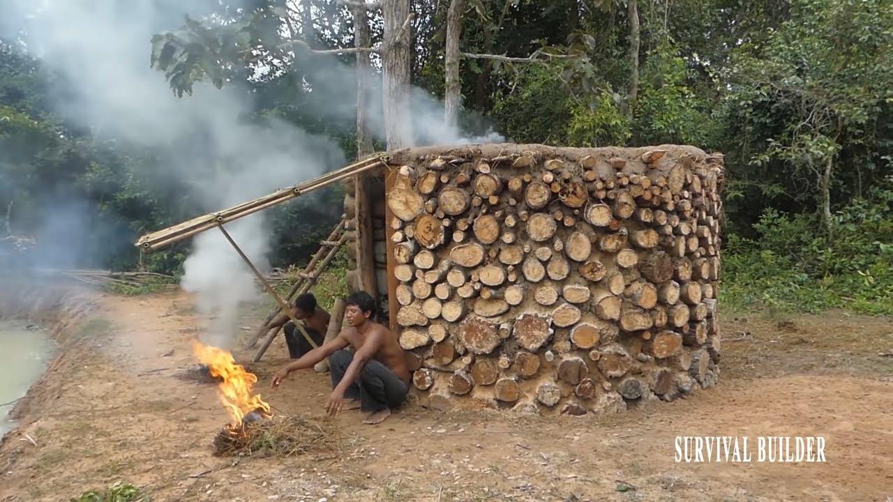Survival Builder: Building Around  Fire Log Villa Full Video