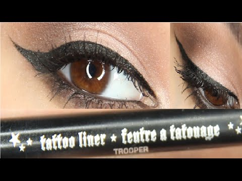 Winged eyeliner tutorial ft. Kat Von D Tattoo Liner in Trooper!