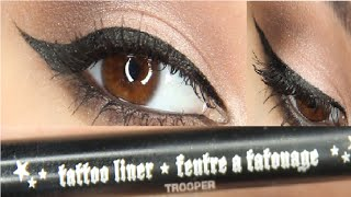 1st winged eyeliner tutorial using kat von d Tattoo Liner in trooper Thumbnail