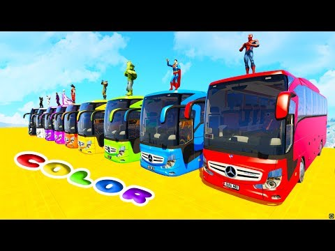 Thumbnail: LEARN COLORS BIG BUS EXTREME DOWNHILL w/ Superheroes Fun Animation For Children