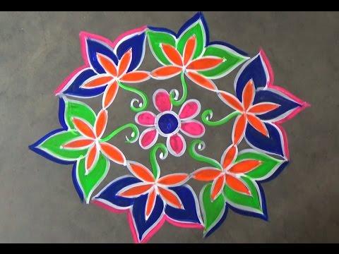Sankranti flower muggulu with 7x 4 interlaced dots  /pongal kolam designs
