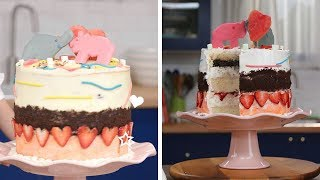 Kid Makes Cute Ice Cream Layer Cake for her Mom!!   Kids Give the Scoop by So Yummy