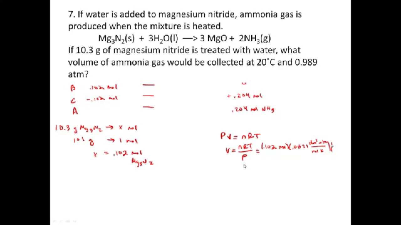 Stoichiometry Practice Problems involving Gases PV nRT YouTube – Gas Stoichiometry Worksheet