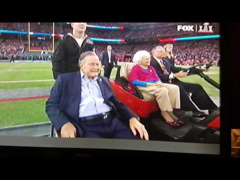 President George Bush tosses coin for Superbowl 51