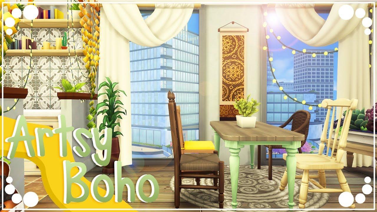 ARTSY BOHO APARTMENT 💚 | The Sims 4 | Speed Build - YouTube