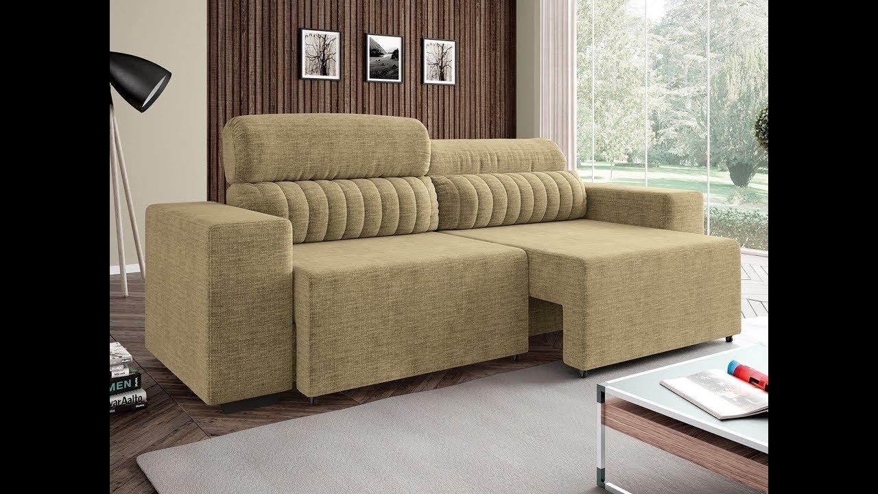 Sofá Retrátil e Reclinável 4 Lugares - Revestimento Suede Elite Style Linoforte