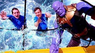 Школа героев Акватим в аквапарке - Танос и Человек Паук.