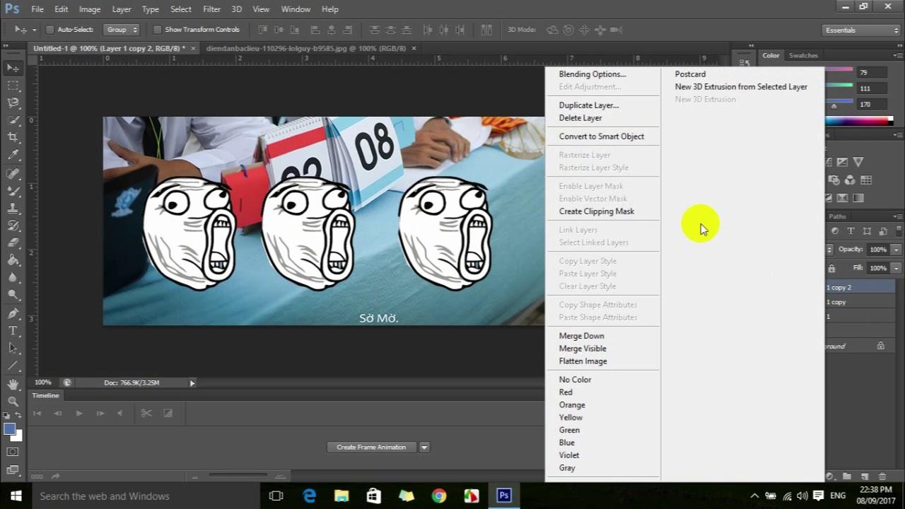 Hướng dẫn Photoshop. Nhân đôi layer và tô màu trong 10 phút