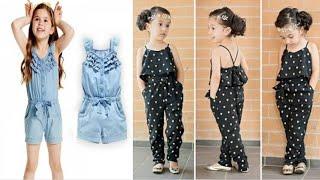 Cutting baby jumpsuit | Child' jumpsuits dress | how to cutting baby jumpsuit | no sewing machine |
