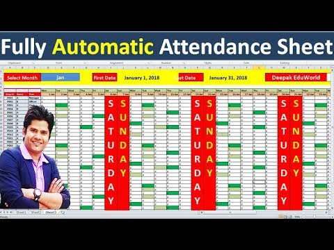😮 Create Fantastic Fully Automated 👌Attendance Sheet in Excel | Hindi