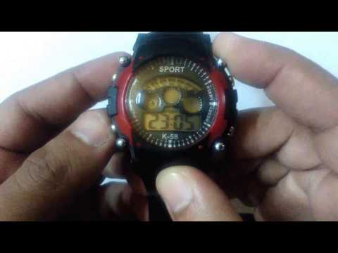 Pappi Black or Red Sports Collection Digital 7 Light Watch