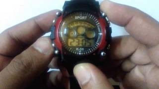 Pappi Haunt Black or Red Sports Collection Digital 7 Light Watch