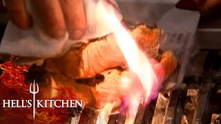 Finalist Chef Burns Salmon | Hell's Kitchen