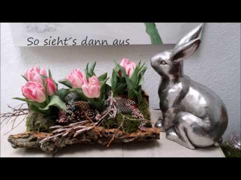 Fruhlings Osterdeko Tulpen In Baumrinde Barbel S Wohn Deko Ideen