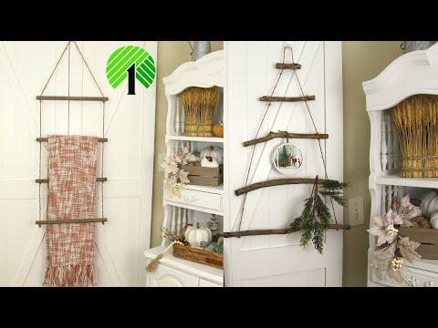 FARMHOUSE DIY DOLLAR TREE/HANGING WALL LADDER