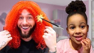 Cali Magically Turns Daddy's Hair Red Kids Pretend Play | Cali's Playhouse