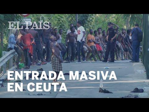 Entrada masiva de INMIGRANTES subsaharianos a CEUTA | España