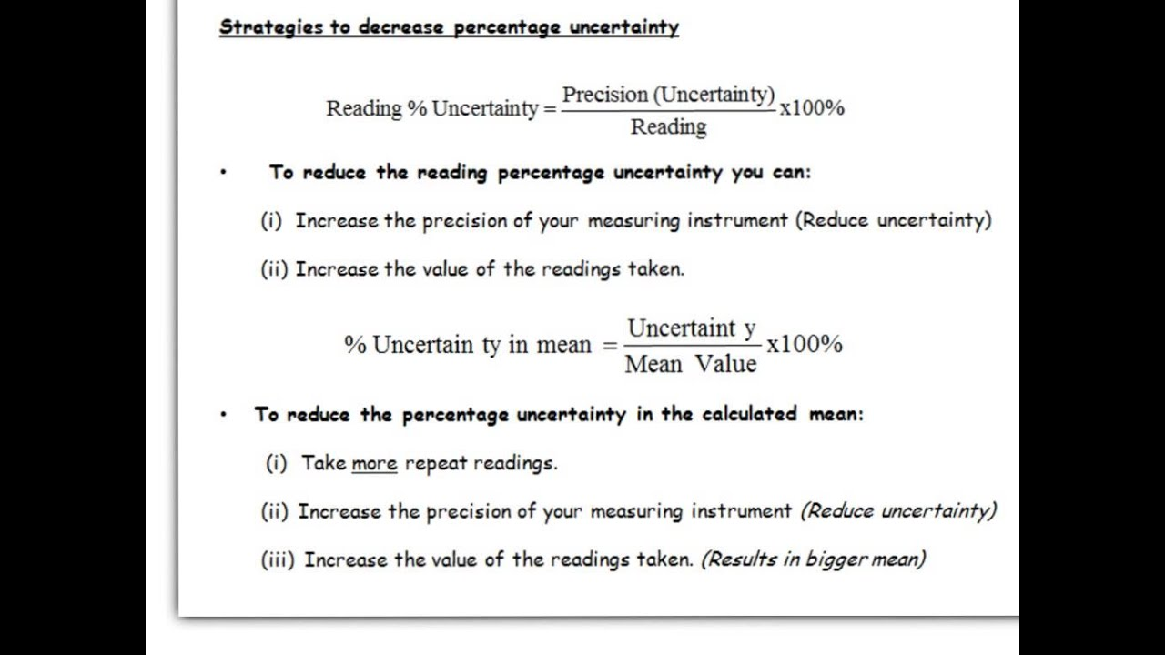 a level physics  aqa  practical skills  calculating uncertainty