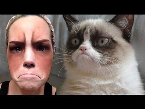Grumpy Cat Halloween Costume | Grumpy Cat Halloween Makeup Tutorial Easy Youtube