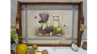 Decoupage Tutorial For Beginners - Diy.  How To Decorate A Tray. How To Stain A Wood.