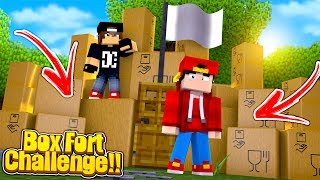 Minecraft BOX FORT CHALLENGE - HOW TO BUILD A BOX FORT IN MINECRAFT!!