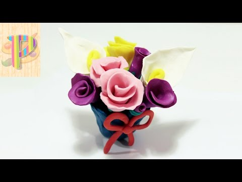 How To Make Plasticine Clay Flowers Как сделать цветы из пластилина