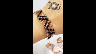 Play with wire   Zigzag bracelet   thick bangles   small crystal beads 630 #Shorts