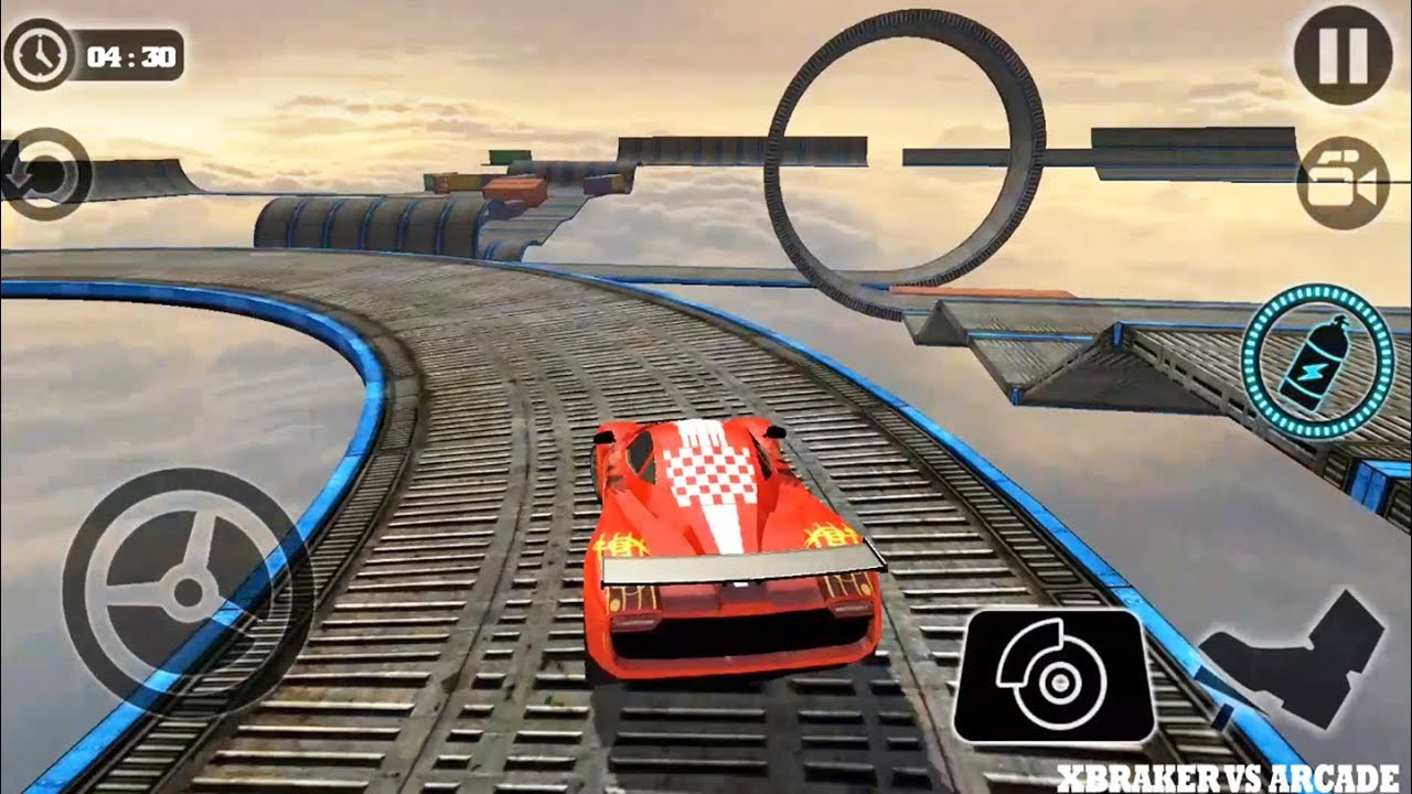 Impossible Stunt Car Tracks 3D Red Vehicle Driving levels 13 and 14 - Android GamePlay 2019