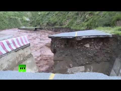 RAW: Devastating floods hit Tibet, highway road washed away
