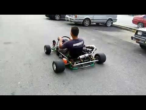 Go kart custom 110cc 2stroke 5speed testing