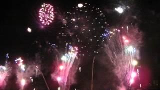 陽気に賑やかなサンバ!カラフルな花火が江戸川の夜空にサンバのリズム...