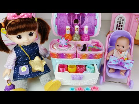 Baby doll beauty bag and ribbon art jewelry maker toys play         -