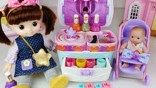 Baby doll beauty bag and ribbon art jewelry maker toys play 콩순이 아기인형 뷰티 가방 리본아트 보석 메이커 장난감놀이 - 토이몽