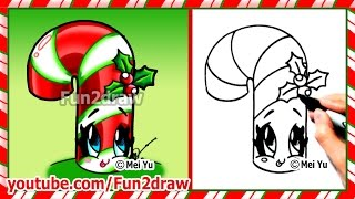 How to Draw Christmas Stuff Things - Cute Candy Cane + Holly - Art Top Drawing Videos Fun2draw
