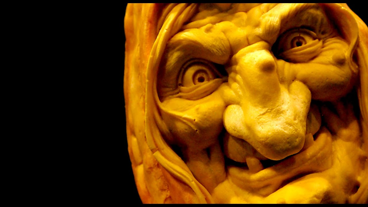 Hag hilda foam pumpkin fear face ray villafane carved halloween prop