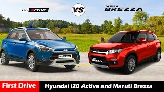 compare hyundai i20 active vs maruti vitara brezza hatchback india 2016 first drive