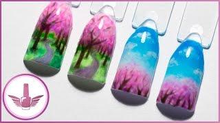 Дизайн ногтей: весенний пейзаж | Маникюр весна, деревья сакуры, облака