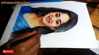 Anushka Shetty Drawing | Colored Pencils tutorial- Paint With Roshan