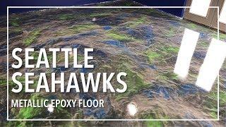 Seattle Seahawks Metallic Epoxy Floor |  Full Tutorial