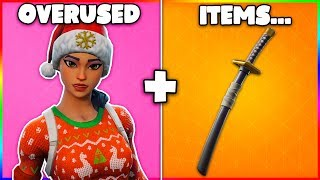10 MOST OVERUSED COSMETICS + SKINS in Fortnite! (99% of people used these items)