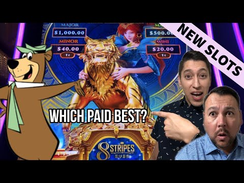 FIRST TRY on 8 STRIPES & YOGI BEAR SLOTS - Which BONUS Pays us more?