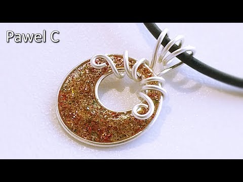 Glitter in resin. Wire and resin pendant. Tutorial.