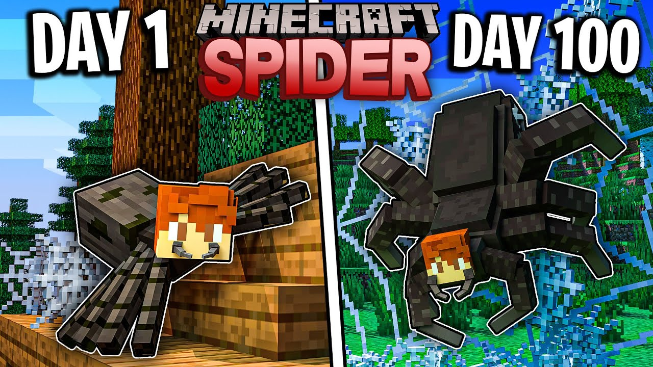 I Survived 100 Days as a SPIDER in Minecraft