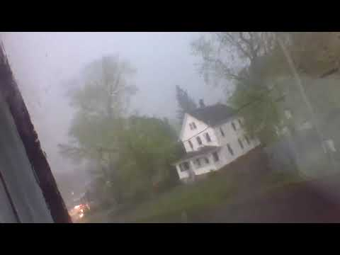 CRAZY TORNADO HITS ANSONIA CT CAUGHT CLOSE ON CAM