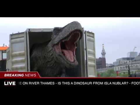 T-Rex Transported Down the Thames In Awesome 'Jurassic World' PR Stunt!