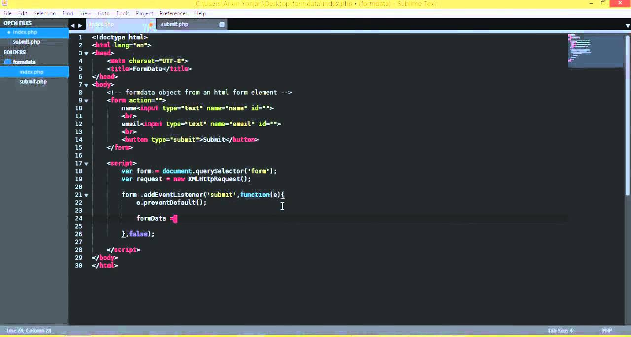 javascript AJAX make FormData object from HTML form 720p - YouTube