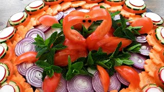 Super Salad Decoration Tutorial - Easy Ideas Food Art - Tomato Swan Plate Decoration