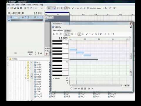 """Sony ACID Pro How To.. """"Create a midi track, draw notes and loop it"""""""