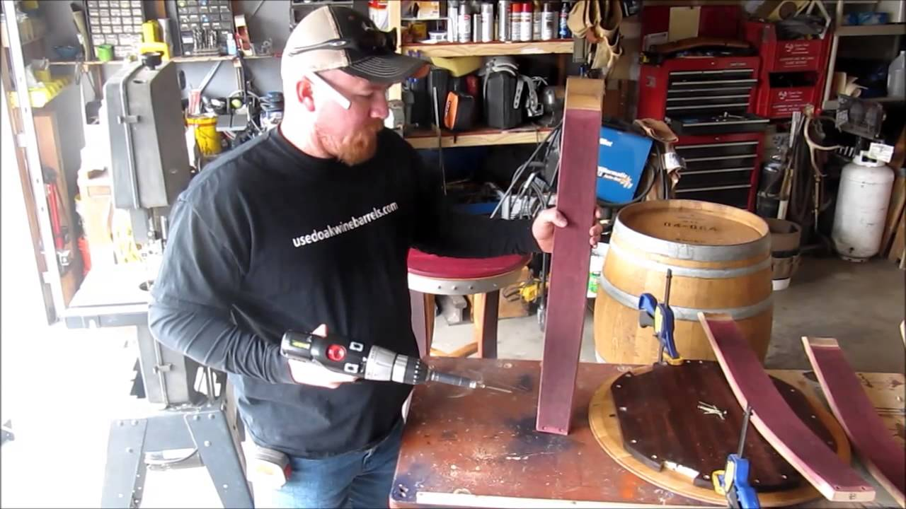 How to build used oak wine barrel table youtube for How to build a wine bar